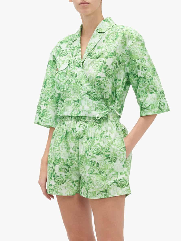 High-rise rose-print cotton-poplin shorts from Ganni