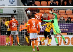 Armand Gnanduillet heads in Blackpool's goal against Southend.