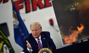 US president Donald Trump speaks during a briefing on wildfires.