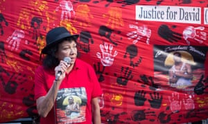 Leetona Dungay, the mother of David Dungay, speaks at a protest outside New South Wales parliament