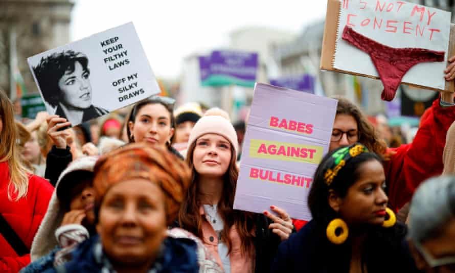 Demonstrators attend the March4Women rally in London on International Women's Day in March.