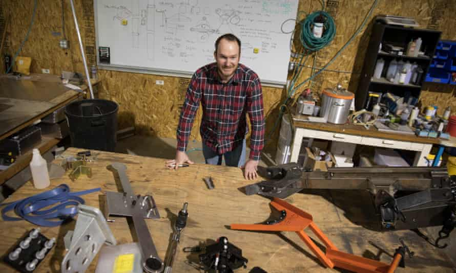Marc Grossman, principal design engineer at SunPower, at his work station at the company's R&D center in Davis, California.