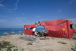 Gaza Beach, 2009. A destroyed container, probably used as a Palestinian police station