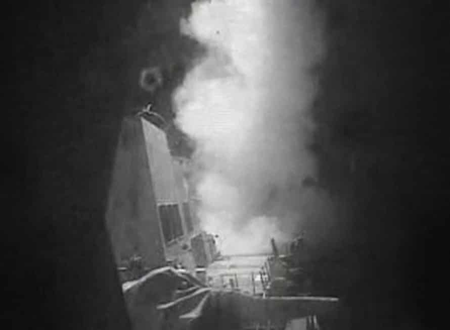 A screen grab from a US Navy video showing the aftermath of the Tomahawk attack.
