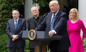 Donald Trump with Rabbi Marvin Hier, Cardinal Donald Wuerl and Pastor Paula White in the Rose Garden of the White House