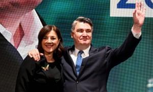 The Social Democratic party's Zoran Milanović with his wife Sanja Milanovic.