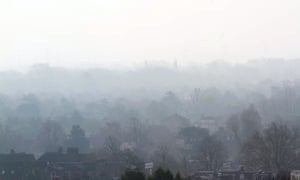 Smog lingers over Wimbledon in London in March 2014.