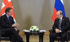 David Cameron (left) and Russia's president Vladimir Putin in Antalya, Turkey.