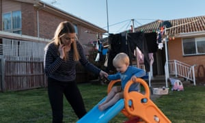 Toni Thompson, 26, plays with her son Walter Bass, 2, in the backyard of Toni's mother's home in Bell Post Hill, Geelong.