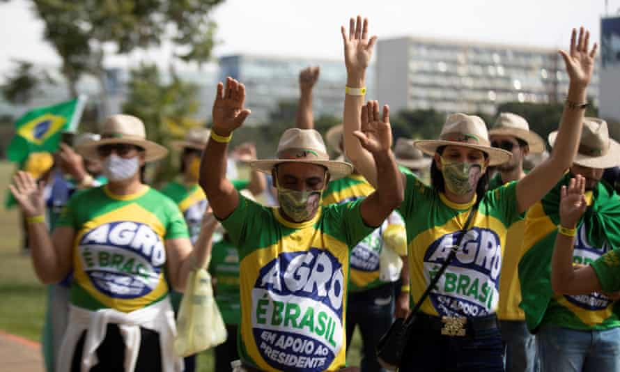 Supporters of President Jair Bolsonaro take part in the 'march of the Christian family for freedom', in Brasilia, Brazil, on 15 May.