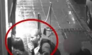 Still from CCTV footage showing Tenniswood talking to India Chipchase outside the nightclub.