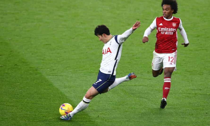 Son Heung-min lets fly from long range to score Tottenham's first goal of their 2-0 victory against Arsenal in the north London derby.