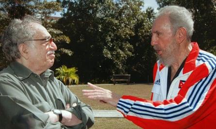 Late Cuban president Fidel Castro talking to author Gabriel García Márquez in 2007.