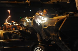 Turkey Military Coup, Istanbul, Turkey - 15 Jul 2016Mandatory Credit: Photo by Depo Photos/REX/Shutterstock (5770924ab) Tanks move into position as Turkish people attempt to stop them, in Ankara Turkey Military Coup, Istanbul, Turkey - 15 Jul 2016