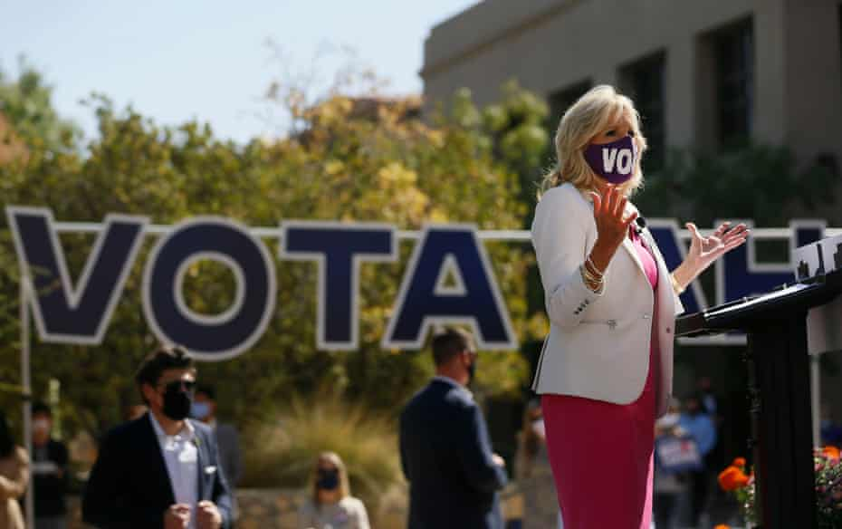 Jill Biden, wife of Democratic presidential candidate Joe Biden, speaks in El Paso, Texas, on 13 October. She said a win in the state would mean 'we are unstoppable'.
