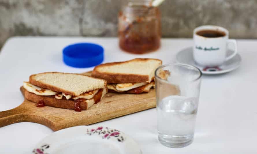 Georgina Hayden's halloumi and apricot jam sandwich.
