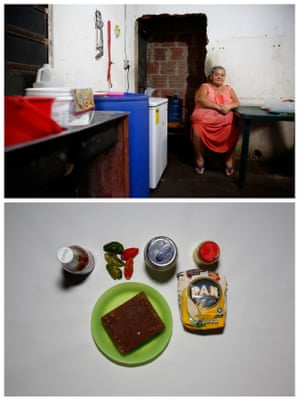 """A combination photo shows Antonia Torres posing for a picture (top), and the food that she has in her home (bottom) in Caracas, Venezuela April 22, 2016. """"I'm eating less and also I'm eating excess things that should not be eaten"""" Torres said."""