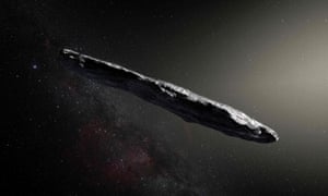 An artist's impression of interstellar asteroid `Oumuamua. It is a dark red highly-elongated metallic or rocky object, about 400 metres long, and unlike anything normally found in the Solar System.