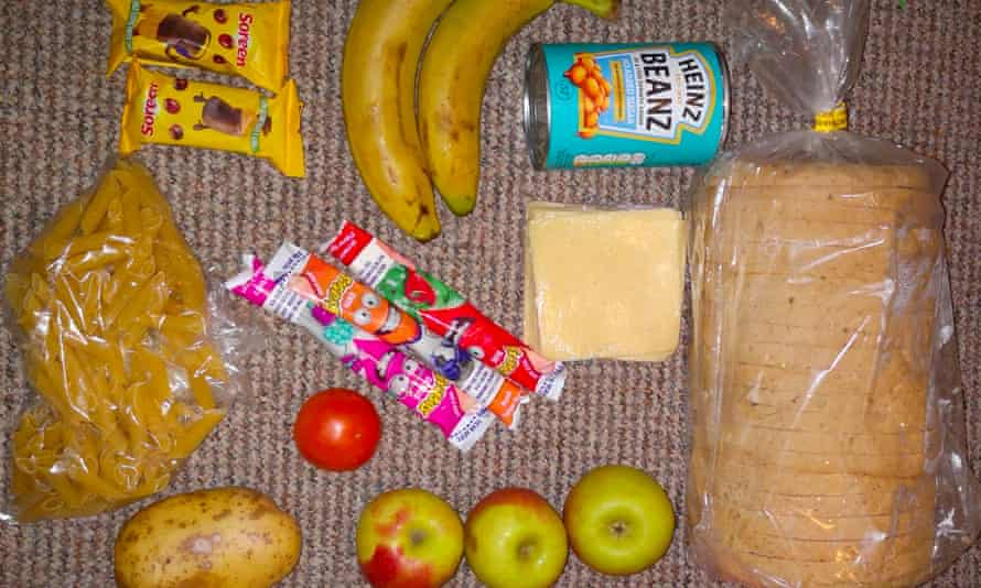 The free school meal pack that was shared by parents on Twitter in the UK this week.