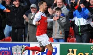 Fleetwood Town's David Ball celebrates scoring against Preston North End.