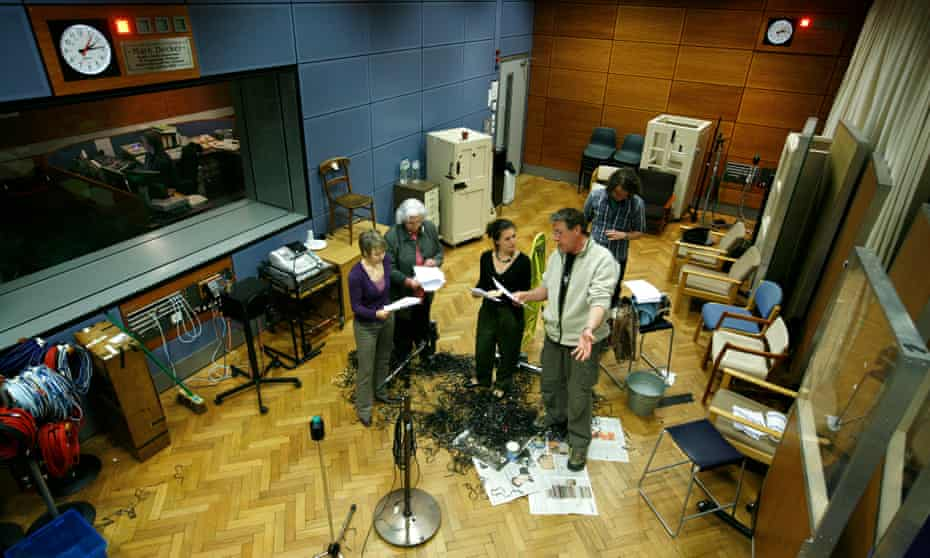 From left: Ruth Archer (Felicity Finch), Jill Archer (Patricia Green), Helen Archer (Louiza Patikas) and David Archer (Tim Bentinck) recording in 2008. Also pictured, spot effects operative Hywel Payne.