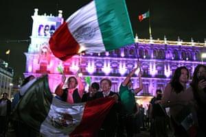 Supporters of the Juntos Haremos Historia coalition celebrate in Zócalo square
