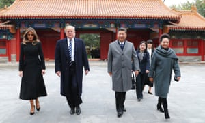 Melania Trump, Donald Trump, Xi Jinping and Peng Liyuan in the Forbidden City in Beijing.