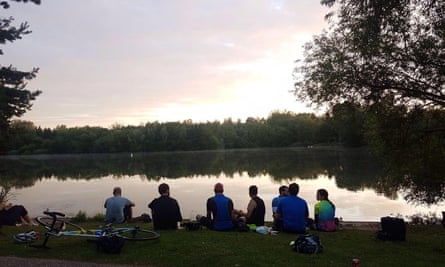 Cyclists have a rest at Needham Lake, a mere 28 miles from Dunwich.