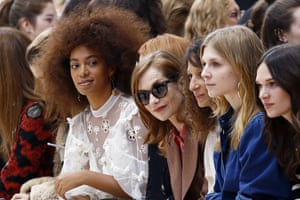 Paris, France Singer Solange Knowles and actor Isabelle Huppert