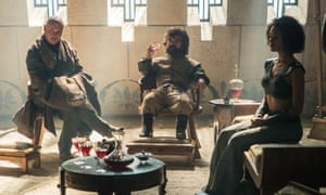 Conleth Hill as Varys, Peter Dinklage as Tyrion Lannister, Nathalie Emmanuel as Missandei