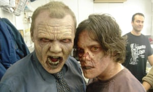 'Such a trip' … Simon Pegg, left, and Edgar Wright preparing to cameo in Romero's Land of the Dead.