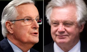 Michel Barnier, left, and David Davis