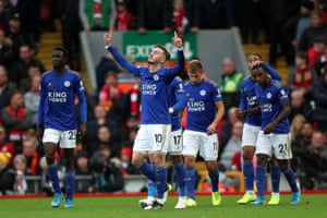 James Maddison of Leicester City celebrates scoring his sides equalising goal.