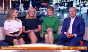 Edwina Bartholomew, Samantha Armytage, Natalie Barr and Mark Beretta on Sunrise in front of stock footage of Martin Place