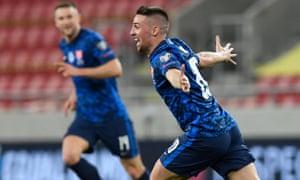 Slovakia's Robert Mak celebrates scoring their second goal.