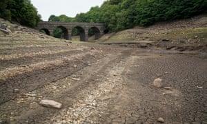 The Yarrow reservoir near Bolton during the 2018 heatwave