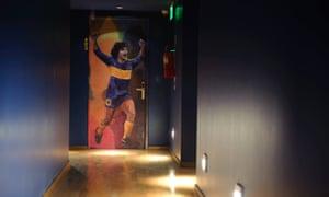 Diego Maradona on room door at HOTEL BOCA, San Telmo, Buenos Aires, Argentina