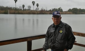 Rey Anzaldua on family land on the Rio Grande River, with Tamaulipas, Mexico, on the far bank.