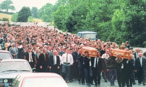The funerals of two of the Loughinisland victims, Barney Green and his nephew Dan McCreanor.