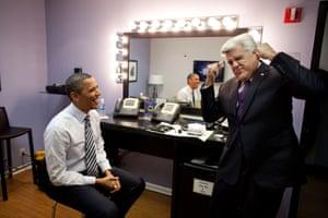 The president jokes around backstage with TV presenter Jay Leno