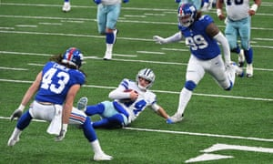 Ebner in action for the New York Giants against the Dallas Cowboys, in January.