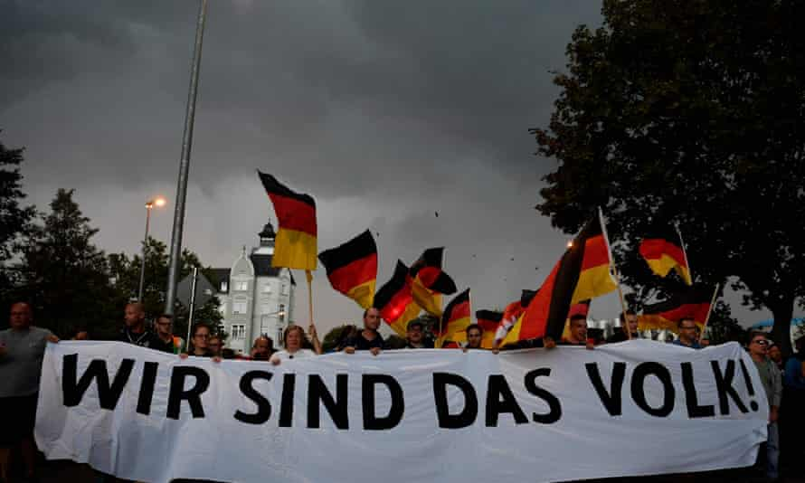 """A march in Chemnitz organised by the rightwing populist """"pro- Chemnitz"""" movement on 7 September following protests against neo-Nazi violence in the Saxon city."""