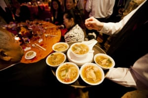 Shark fin soup being served at a Hong Kong restaurant