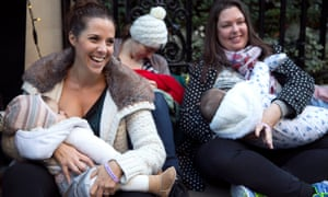 A protest in London in support of breastfeeding in public.