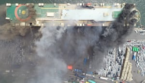 A fire on a freighter docked at a port in Incheon, South Korea