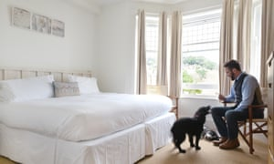 Dog in bedroom, beach hotel minehead