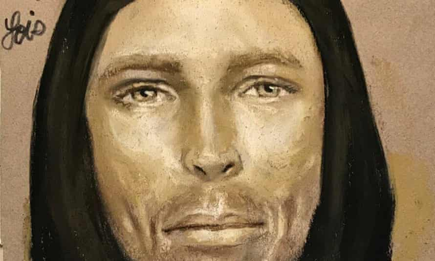 A sketch provided by the Harris county sheriff's office in Houston shows an artist's rendition of the suspect in the fatal shooting of Jazmine Barnes.