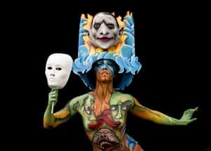 A melange of faces adorn this festival goer