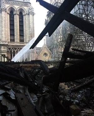 Damage inside the cathedral