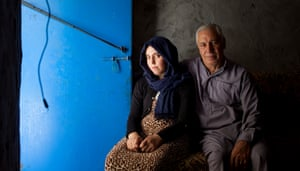 Zanab Ismail with her father Mohammed in Baharka refugee camp in Iraq